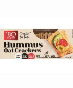 HUMMUS OAT CRACKERS 135GM/BOX - 180 DEGREES