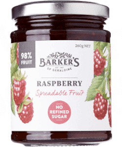 BARKER'S OF GERALDINE RASPBERRY SPREADABLE FRUIT 260GM