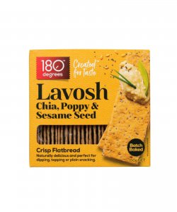 LAVOSH : CHIA , POPPY & SESAME 150GM/BOX - 180 DEGREES