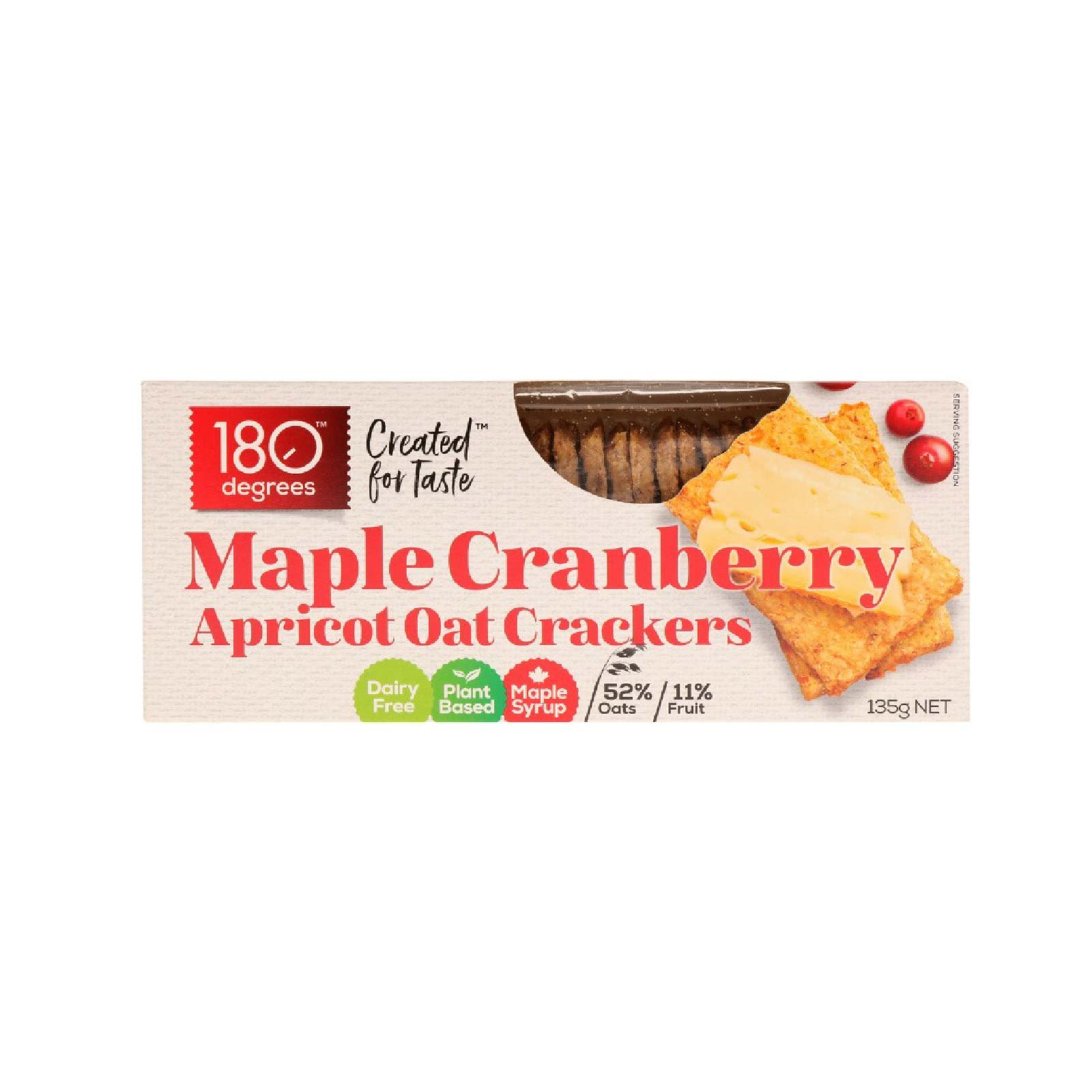 180 Degree Maple Cranberry Apricot Oat Crackers 135gm