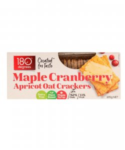 MAPLE CRANBERRY OAT CRACKERS135GM/BOX - 180 DEGREES