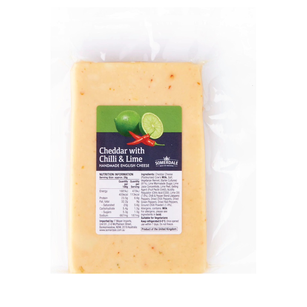 CHILLI & LIME CHEDDAR CHEESE 200GM/PCS - SOMERDALE