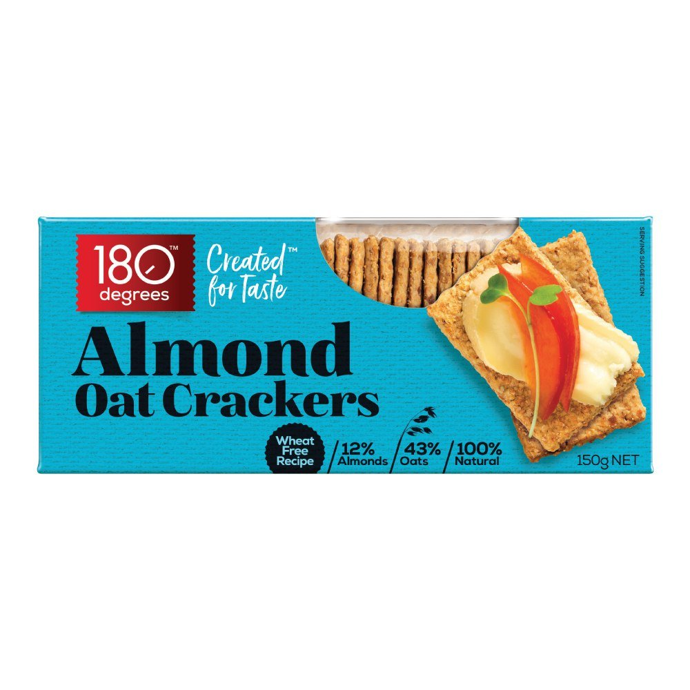 ALMOND OAT CRACKERS 150GM/BOX - 180 DEGREES