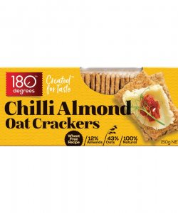 CHILLI ALMOND OAT CRACKERS 150GM/BOX - 180 DEGREES