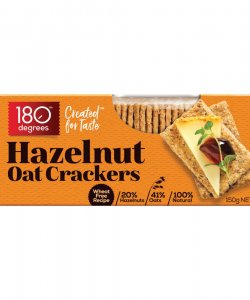 HAZELNUT OAT CRACKERS 150GM/BOX - 180 DEGREES