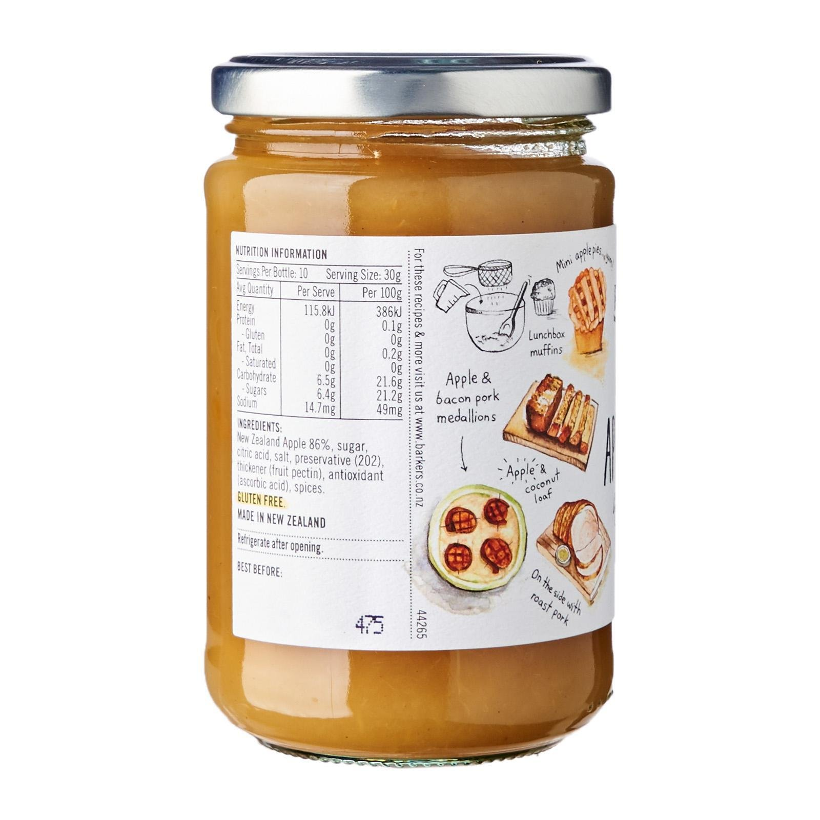 BARKER'S OF GERALDINE NZ APPLE SAUCE 310GM