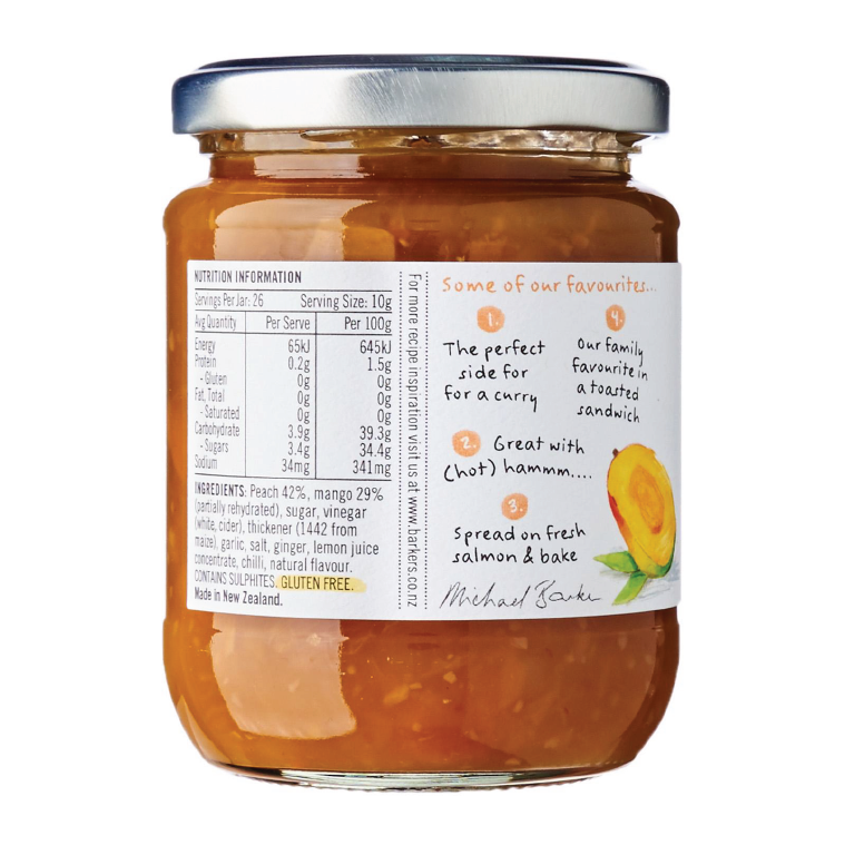 Barker's Of Geraldine Peach And Mango Chutney