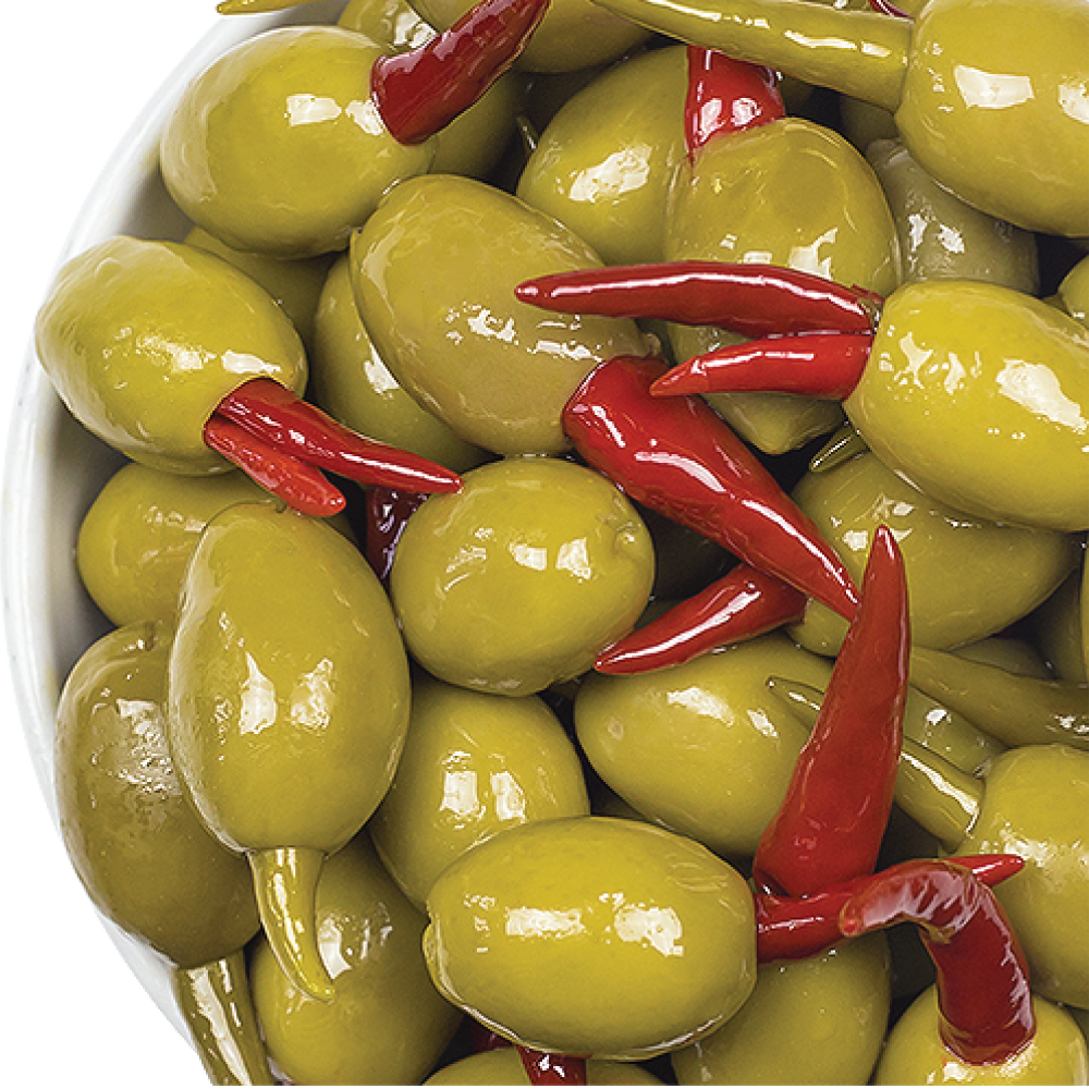 BELAZU GREEN OLIVES STUFFED WITH WHOLE RED & GREEN CHILLI 200GM/PKT
