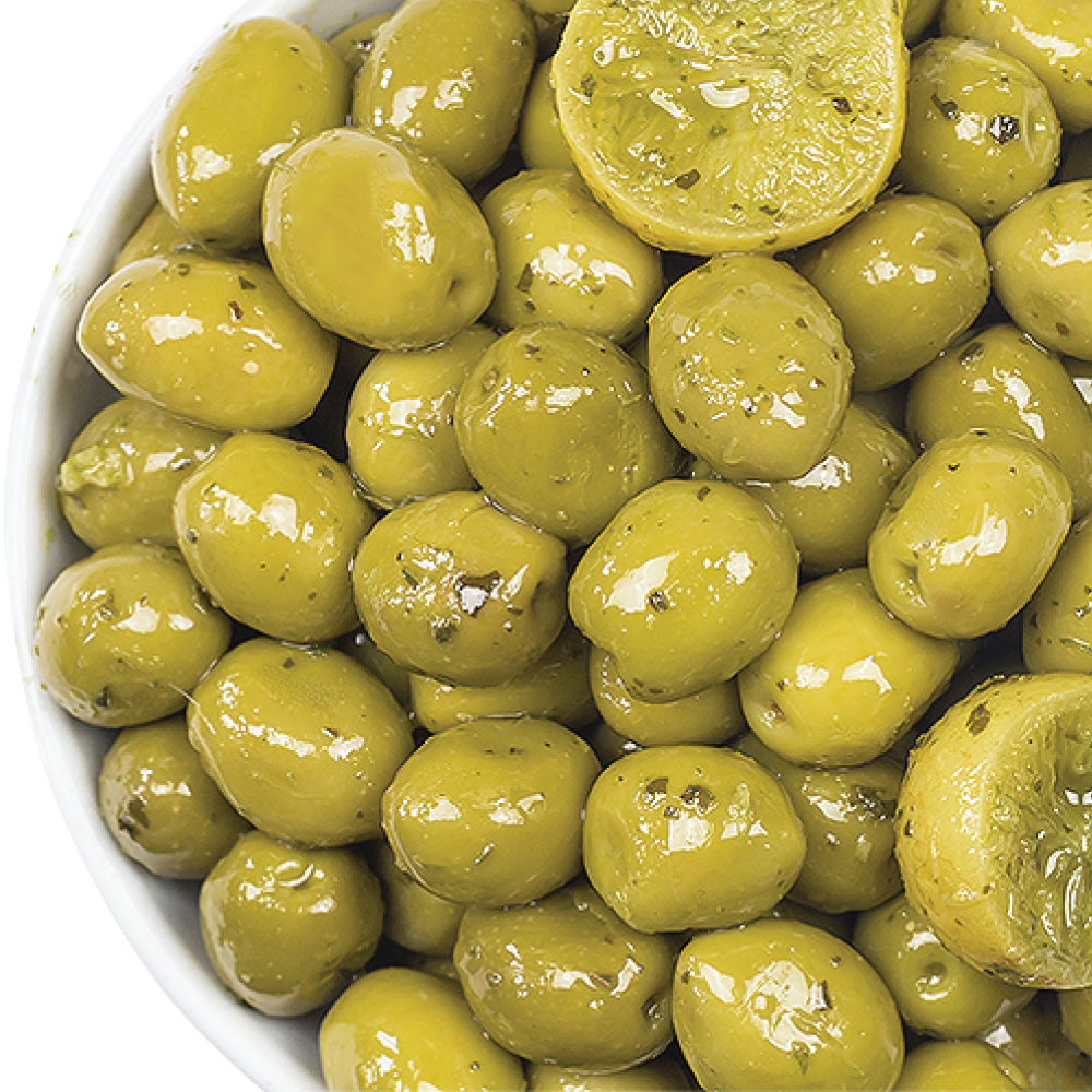 BELAZU LEMON , BASIL & MINT OLIVES 200GM/PKT