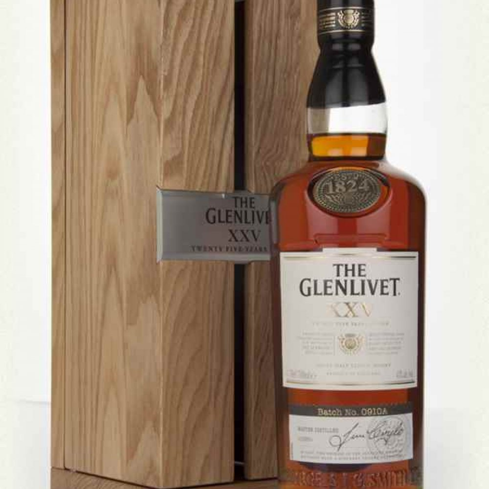 THE GLENLIVET XXV (25 YEAR OLD)  WITH WOODEN BOX 70CL  43%
